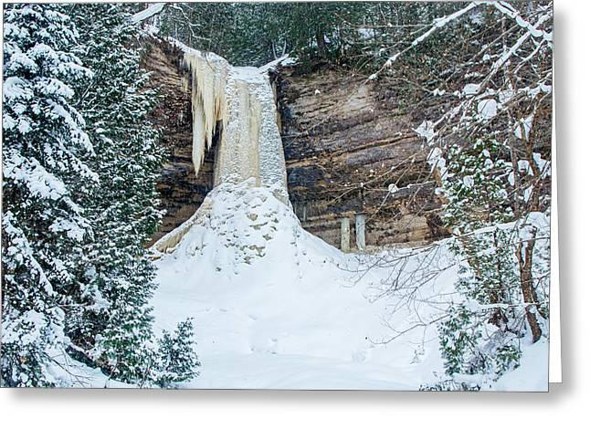 Winter At Munising Falls Greeting Card
