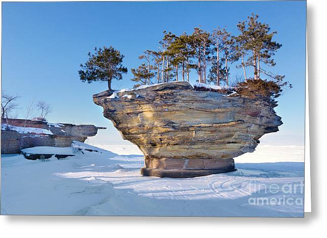 Winter At Port Austin's Turnip Rock Greeting Card by Craig Sterken