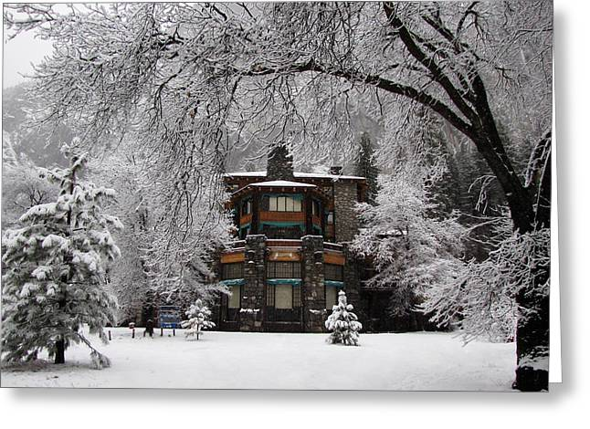 Winter At The Ahwahnee In Yosemite Greeting Card by Carla Parris