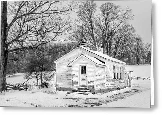 Winter At The Amish Schoolhouse - Bw Greeting Card by Chris Bordeleau