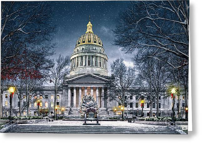 Winter At The Capitol Greeting Card by Mary Almond