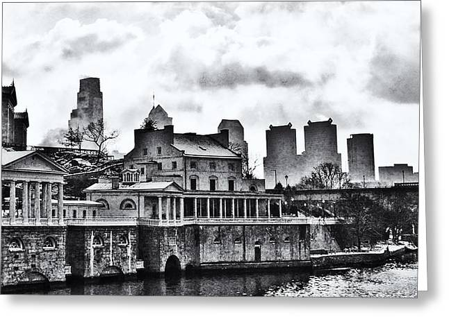 Winter At The Fairmount Waterworks In Black And White Greeting Card