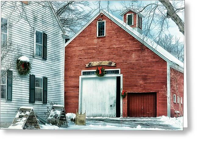 Winter At The Farm Greeting Card by Tricia Marchlik