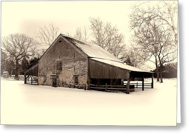 Winter At The Horse Barn Greeting Card