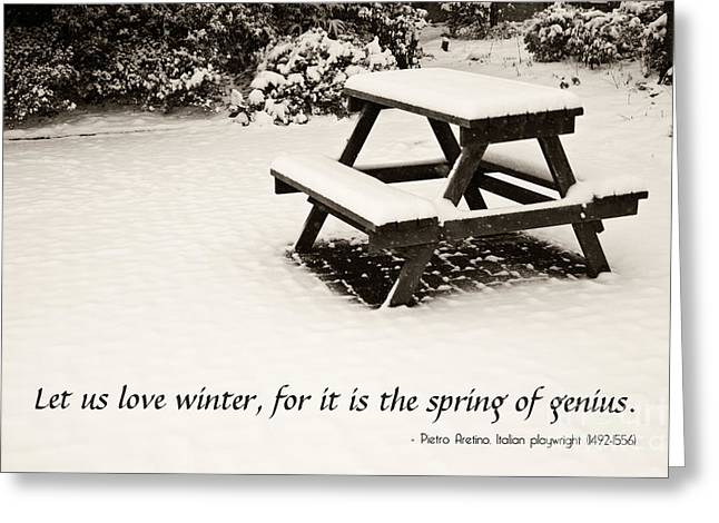 Winter At The Park With A Snow-covered Table Greeting Card by Beverly Claire Kaiya