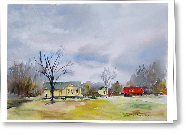 Origional  Sold - Winter At The Train Museum Tomball Tx Greeting Card