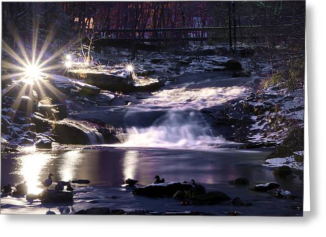 Winter At The Woodlands Waterfall In Wilkes Barre Greeting Card by Bill Cannon