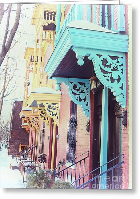 Winter Balconies In Montreal Greeting Card by Jane Rix
