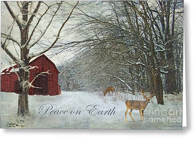 Winter Barn 2 - Peace On Earth Greeting Card by Lianne Schneider