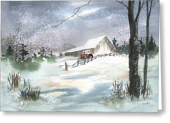 Greeting Card featuring the painting Winter Barn And Tractor by Sean Seal