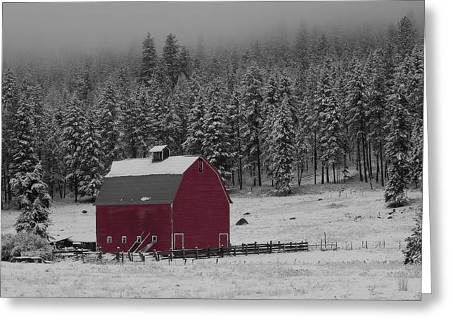 Winter Barn In Red Greeting Card by Mark Kiver