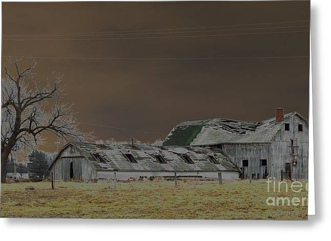Winter Barns Greeting Card by Alys Caviness-Gober
