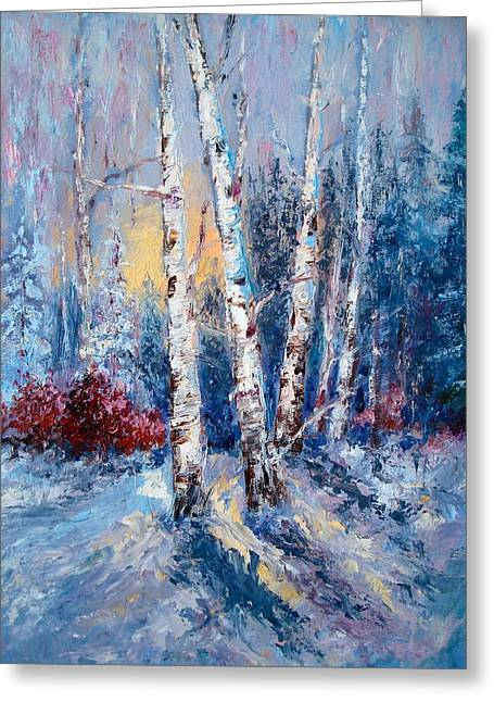 Winter Birch Trees Greeting Card by Holly LaDue Ulrich