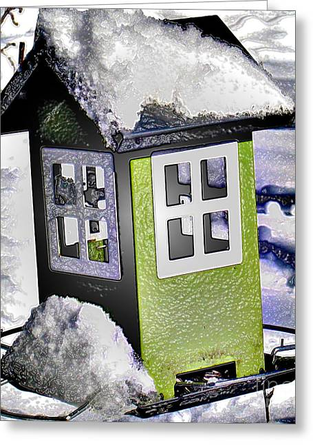 Greeting Card featuring the photograph Winter Birdfeeder by Nina Silver