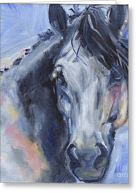 Grey Horse Painting Winter Blues Greeting Card