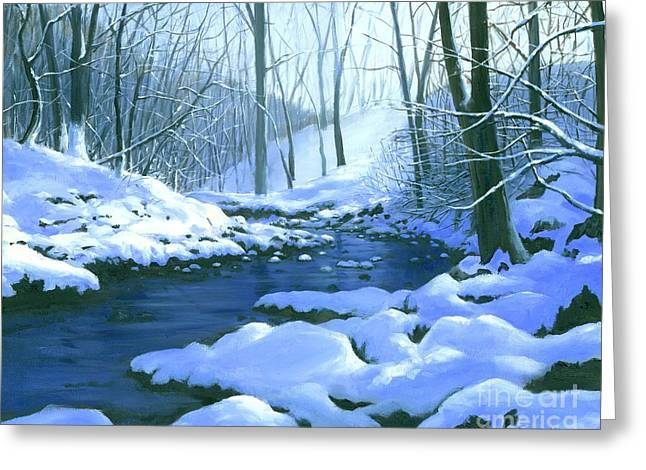 Greeting Card featuring the painting Winter Blues - Sold by Michael Swanson