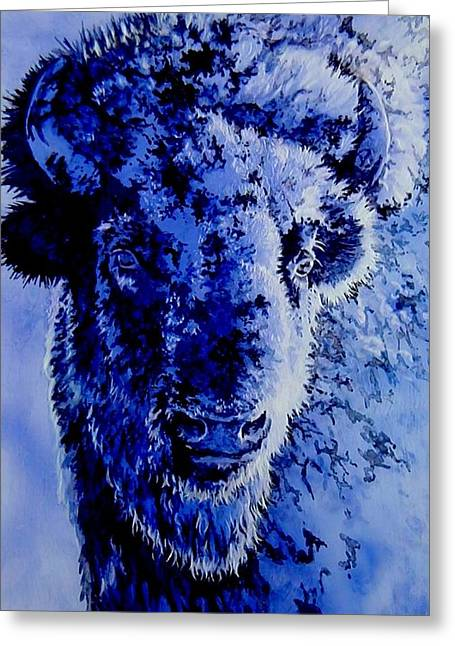 Winter Buffalo Greeting Card