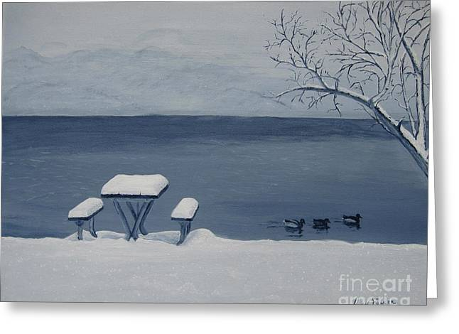 Winter By The Lake Greeting Card