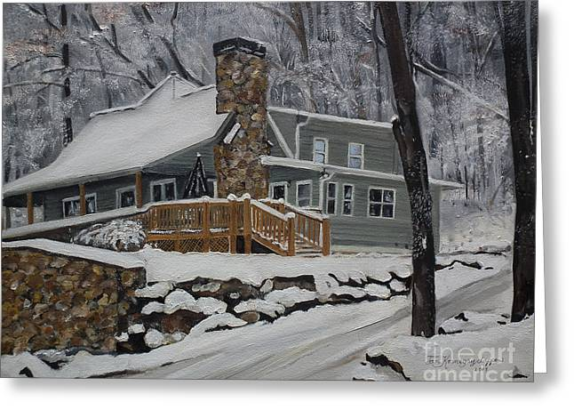 Winter - Cabin - In The Woods Greeting Card by Jan Dappen