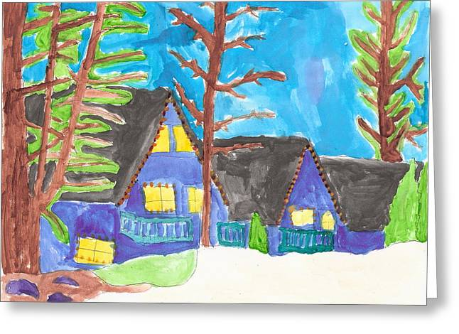 Greeting Card featuring the painting Winter Cabins by Artists With Autism Inc