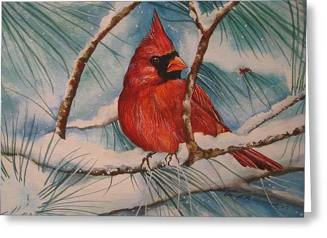 Winter Cardinal Greeting Card by Cheryl Borchert