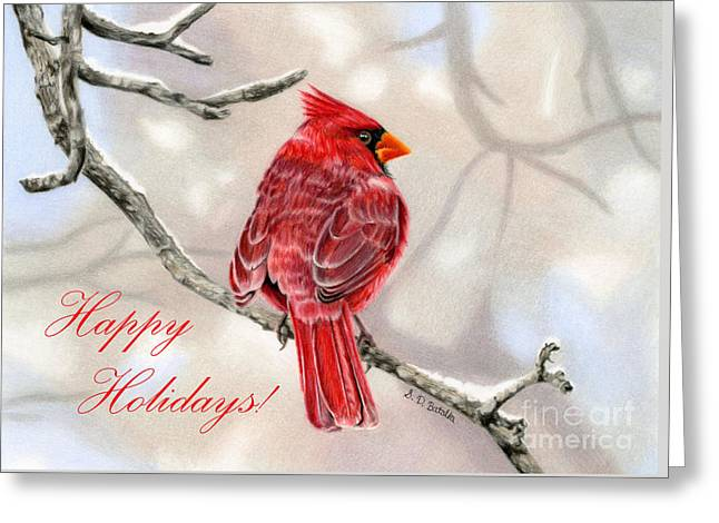 Winter Cardinal- Happy Holidays Cards Greeting Card by Sarah Batalka