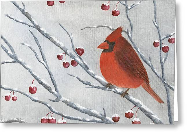 Winter Cardinal Greeting Card by Peter Miles