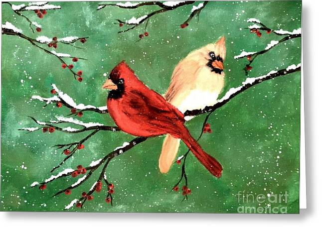 Winter Cardinals Greeting Card