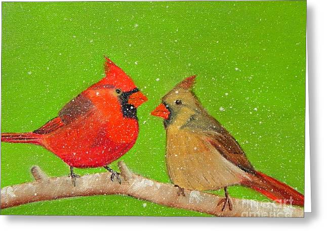Winter Cardinals Greeting Card by Shelia Kempf
