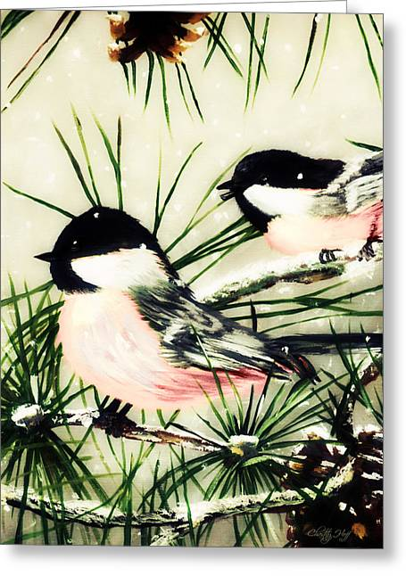 Winter Chickadees 2 Greeting Card by Chastity Hoff