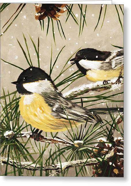 Winter Chickadees Greeting Card by Chastity Hoff