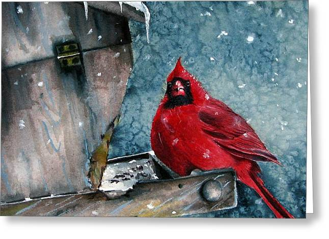 Greeting Card featuring the painting Winter Chills by Margit Sampogna