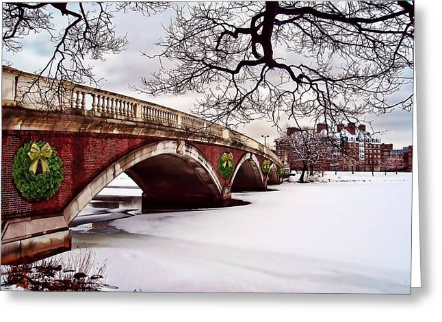 Winter Christmas On The Charles River Boston Greeting Card by Elaine Plesser