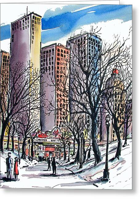 Greeting Card featuring the painting Winter City by Terry Banderas