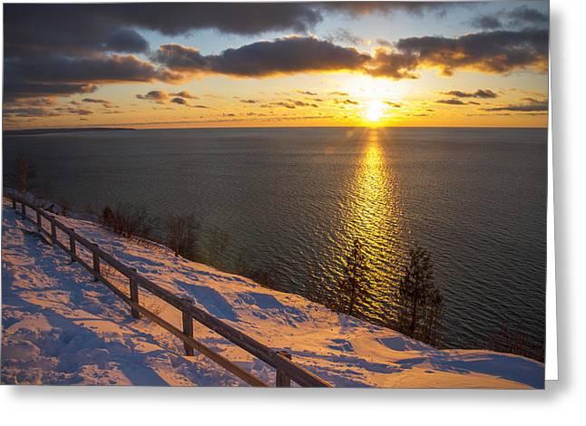 Winter Cliffs On Lake Michigan Greeting Card