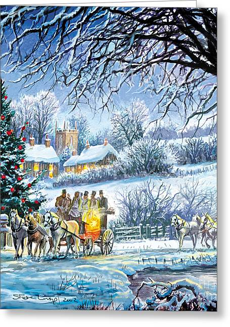 Winter Coaches Greeting Card by Steve Crisp