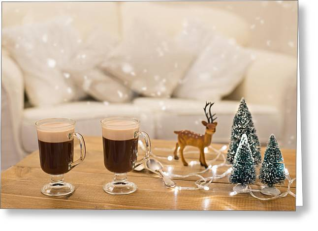 Winter Coffee Greeting Card by Amanda Elwell