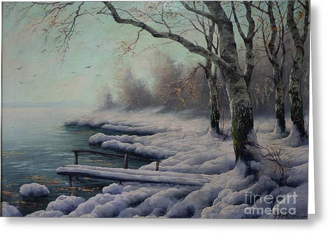 Winter Coming On The Riverside Greeting Card