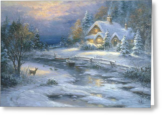 Winter Cottage Greeting Card by Ghambaro