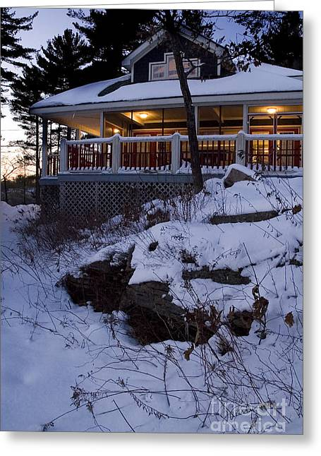 Winter Cottage Greeting Card by Jessie Parker