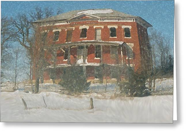 Winter Courthouse Greeting Card by Dennis Buckman