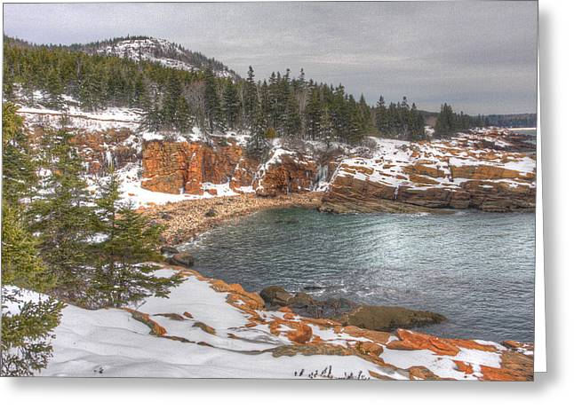Winter Cove Greeting Card by Robert Saccomanno