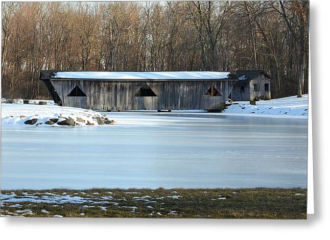 Winter Covered Bridge Greeting Card by Jennifer  King