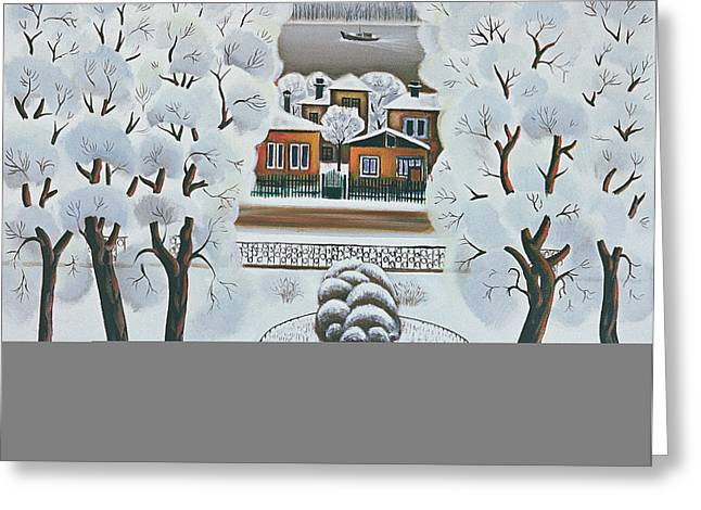 Winter Day, 1978 Oil On Canvas Greeting Card by Radi Nedelchev