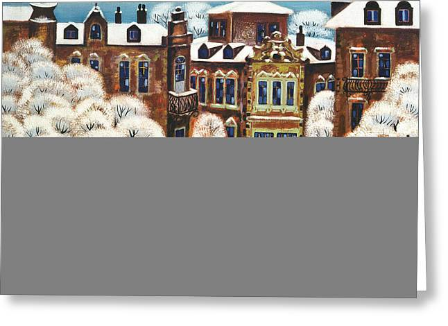 Winter Day In The City, 1975 Oil On Canvas Greeting Card by Radi Nedelchev
