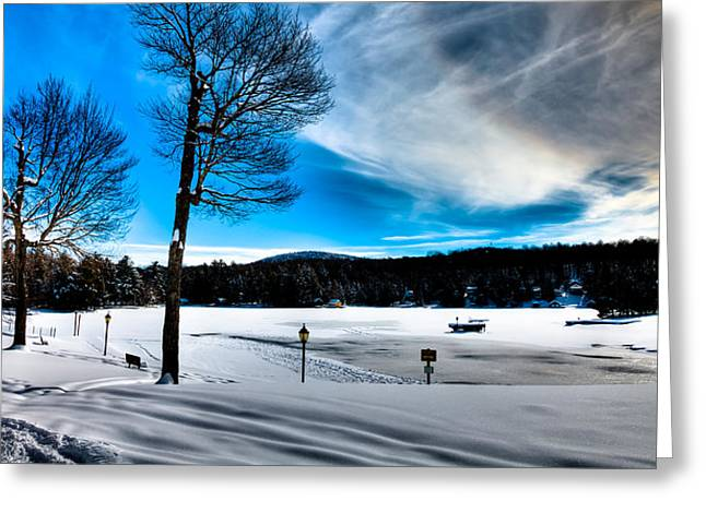 Winter Day On Old Forge Pond Greeting Card by David Patterson