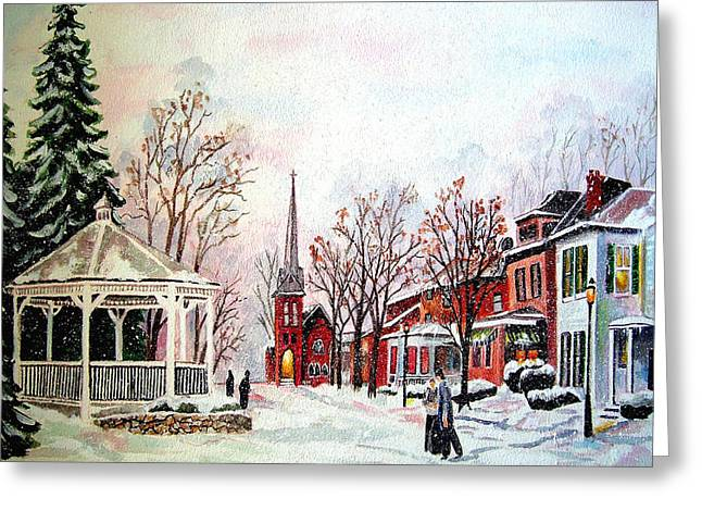 Winter Days Of Old Greeting Card by Zelma Hensel