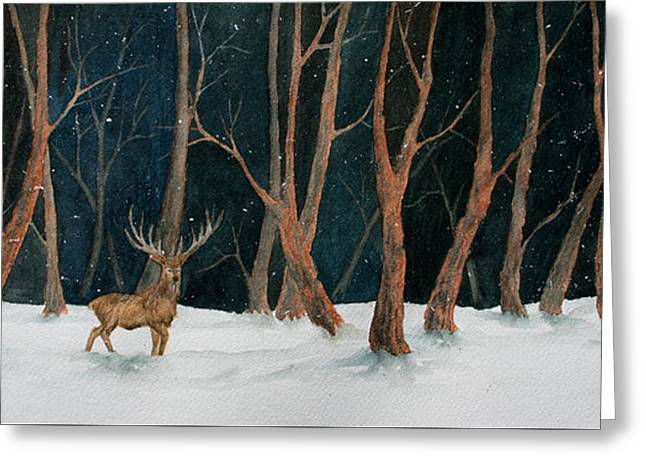 Winter Deer Greeting Card by Rebecca Davis