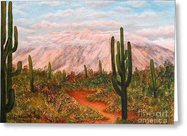 Winter Desert At Sunset Greeting Card by Judy Filarecki