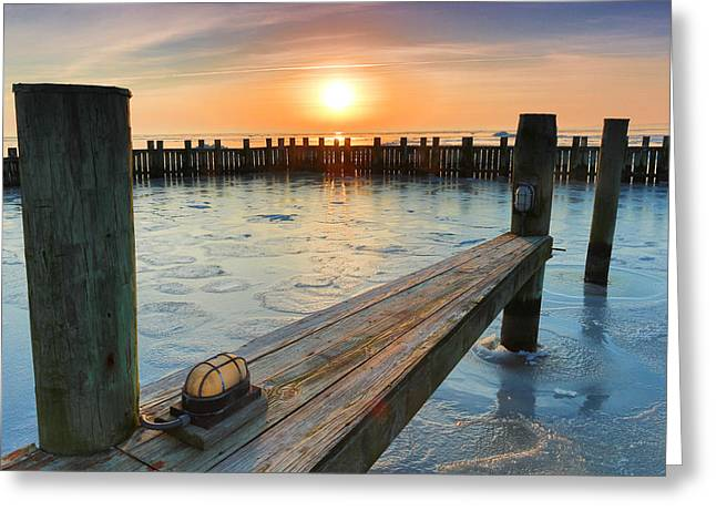 Greeting Card featuring the photograph Winter Docks by Jennifer Casey